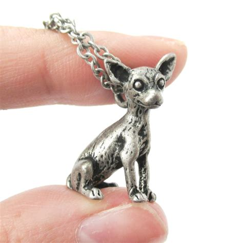puppy necklace 3d realistic chihuahua animal charm lover themed necklace in silver 183 dotoly