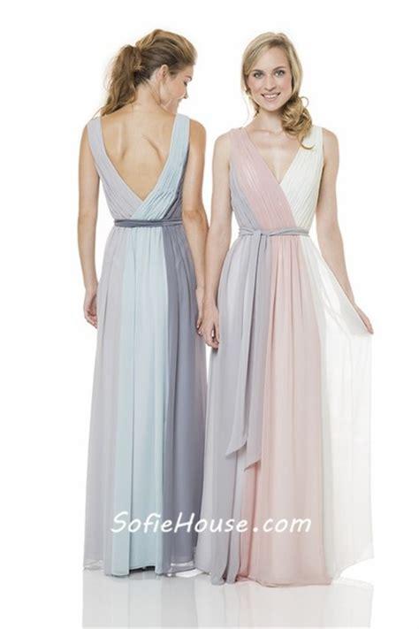 multi colored bridesmaid dresses unique sheath v neck and back multi colored chiffon