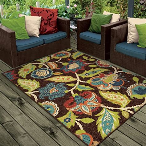 orian rugs indoor outdoor floral basil brown area rug 5 2