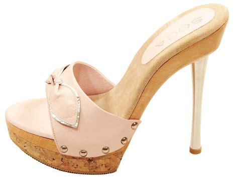 slide high heel sandals womens soca elsa high heel wood cork platform slides