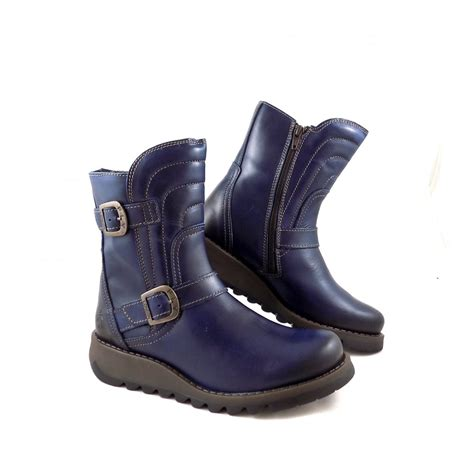 fly sven biker style ankle boots in blue rubyshoesday