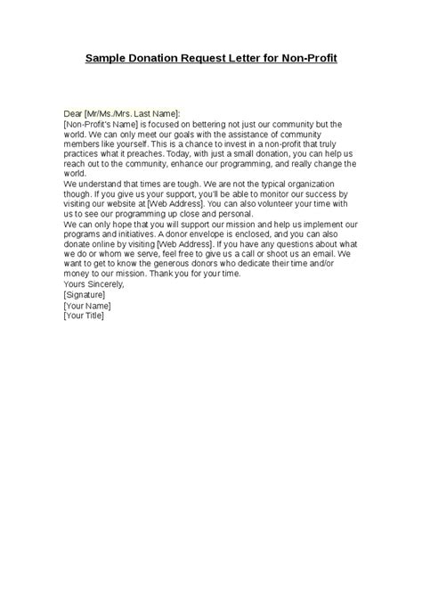 Fundraising Letter Exles For Nonprofits Sle Donation Request Letter For Non Profit Hashdoc