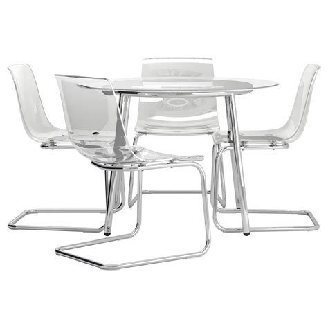 Salmi Tobias Table And 4 Chairs Glass Transparent 105 Cm Ikea Glass Dining Table And Chairs