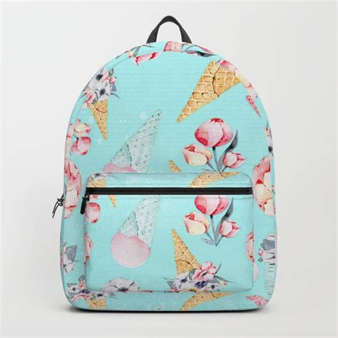 pink pattern backpack pink teal summer fun flower ice cream cone pattern