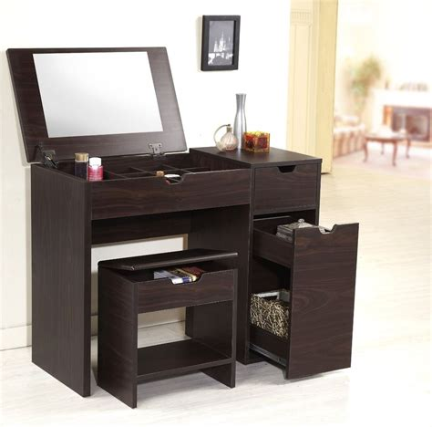 Makeup Vanity Furniture Small Modern Brown Laminate Makeup Vanity Table With Drawer And Makeup Storage Fold Up