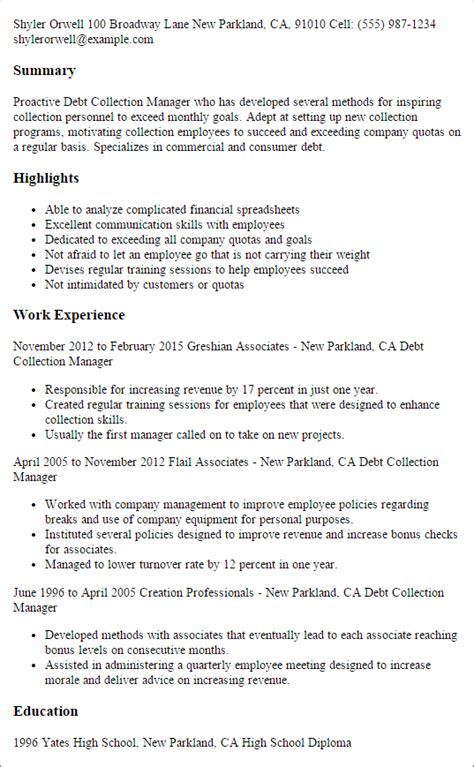 Debt Collection Manager Cover Letter by Professional Debt Collection Manager Templates To Showcase Your Talent Myperfectresume