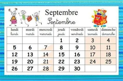 Calendrier Septembre 2017 Maternelle The World S Catalog Of Ideas