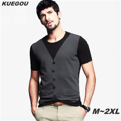 Tees With Vest kuegou s vest pattern sleeved t shirt black grey xl free shipping dealextreme
