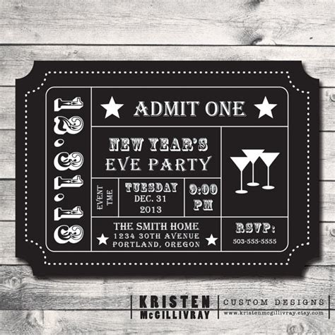New Years Eve Ticket Template Invitation Template New Years Ticket Template
