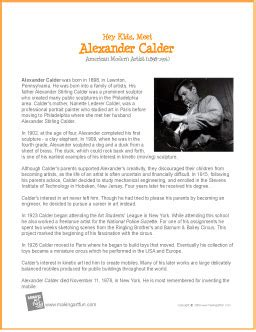 alexander calder | free lesson plans and worksheets | my