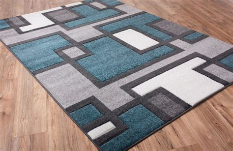 Popular Interior Aberdine Gray Teal Area Rug Pomoysam