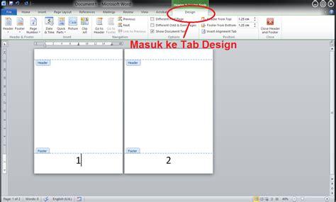tab design adalah cara menghilangkan nomor halaman pada cover