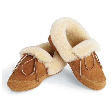 sheepskin slippers the androscoggin sheepskin slippers hammacher schlemmer