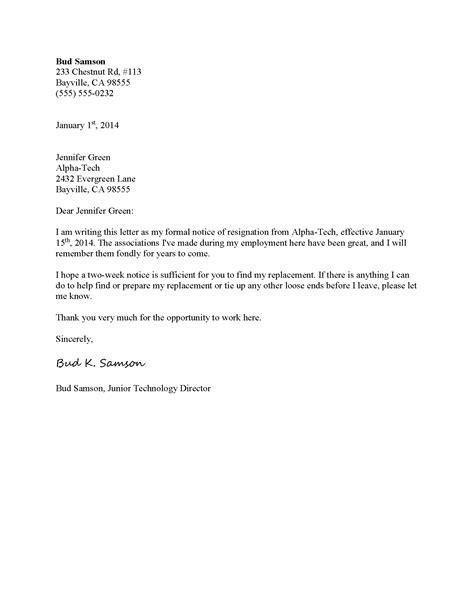 Format Of Resign Letter From Company by Business Letter Template Resignation Sle Business Letter