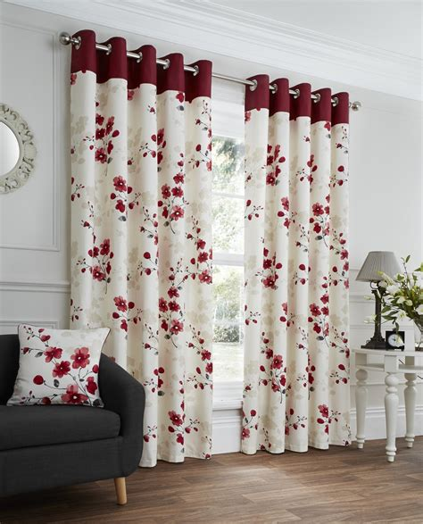 Paige red floral ready made eyelet curtains harry corry limited