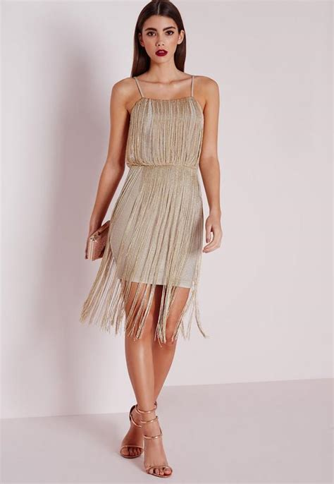 premium metallic fringe dress gold missguided