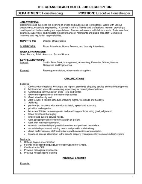 Supervisor Description Sle by Sle Of Housekeeping Resume 28 Images Housekeeping