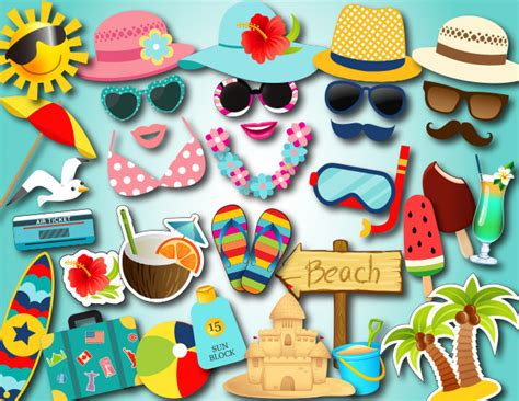 printable photo booth props beach instant download summer beach party photo booth props beach