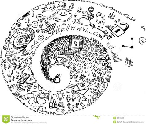 how to use spiral doodle spiral of social network doodles stock illustration