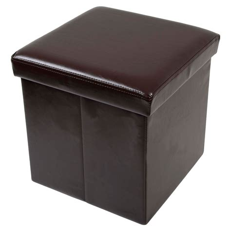 Ottoman Seats Folding Storage Stool With Lid Faux Leather 37cm Cube Box Pouffe Seat Ottoman Ebay