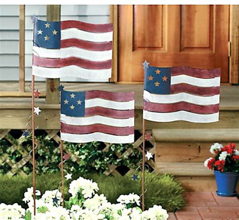 americana decorations set of 3 metal flag yard garden stakes americana patriotic