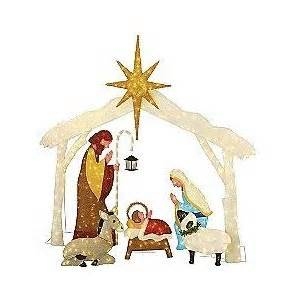 Lighted nativity scene set of 6 outdoor living christmas outdoor