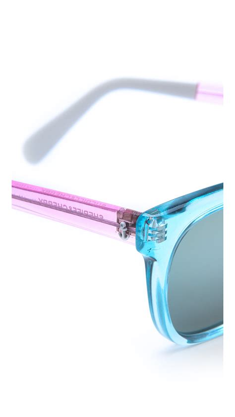 Color Block Sunglasses lyst sheriff cherry colorblock mirrored sunglasses in blue