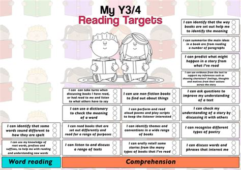 year 4 english targeted child friendly pupil year3 4 reading target sheet by mrteachuk teaching resources tes