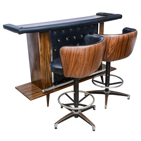 Miami Home And Decor Magazine Mcm Vintage Bar Set With Two Stools America 1950s At 1stdibs