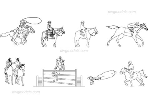 Horse Dwg Pictures Free Download | people riding horses dwg free cad blocks download