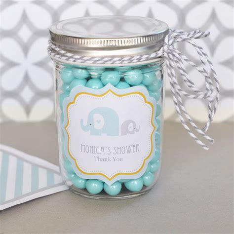 Jars For Baby Shower by 24 Personalized Blue Elephant Theme Mini Jars Baby
