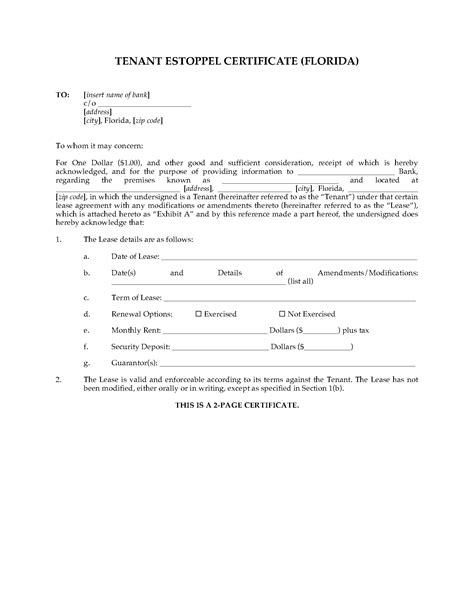 Lease Estoppel Letter Florida Commercial Tenant Estoppel Certificate Forms And Business Templates Megadox