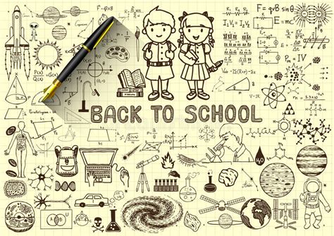 pen doodles vector education doodles back to school concept on paper with 3d