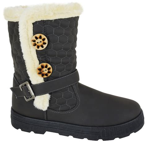 womens quilted winter fur lined fashion snow ankle
