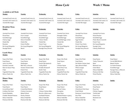 cycle menu template cycle menu template menu cycle week 1 menu food