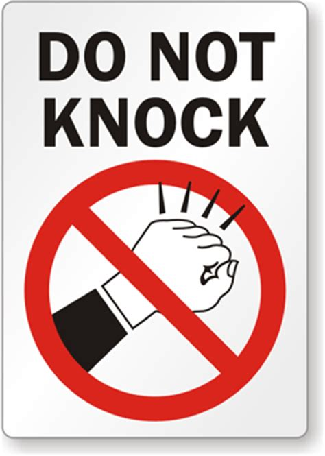 Knock The Door Sign by Do Not Knock Label With Symbol Sku Lb 1946