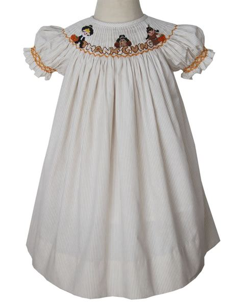 Turkey Dress 8 thanksgiving bishop dress with smocked pilgrims turkey and indian thanksgiving