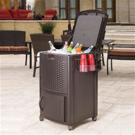 Suncast Patio Cabinet And Prep Station by Suncast Wicker Rattan Beverage Cooler Food Prep Station