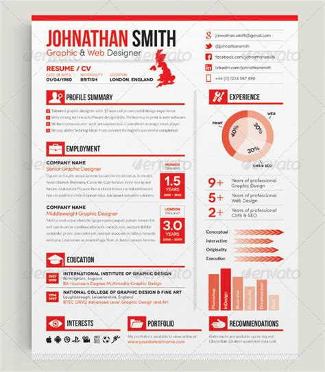 infographic cover letter 20 creative infographic resume templates web graphic