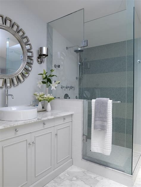 Blue Gray Bathroom Ideas Striped Shower Surround Contemporary Bathroom Ici