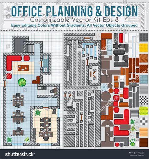 interior design furniture layout kit office space planning and design vector kit contains