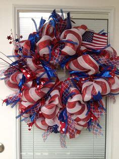 patriotic red white and blue geo mesh wreath on sweet