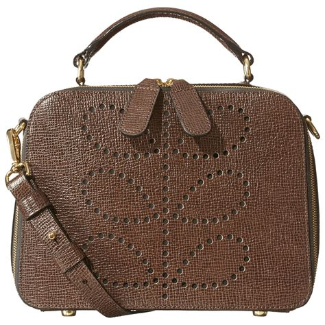Bay Bags by Lyst Orla Kiely Mini Bay Textured Leather Bag In Brown