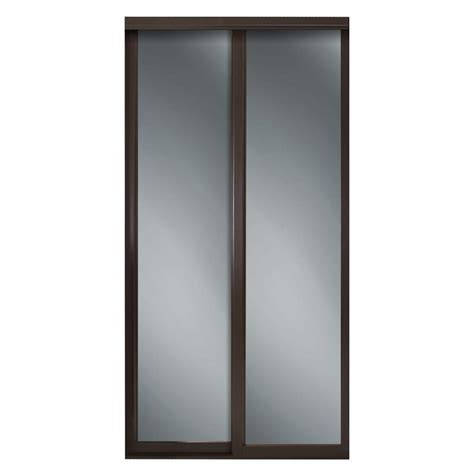 Mirrored Closet Doors Home Depot Contractors Wardrobe 72 In X 81 In Serenity Mirror Espresso Wood Framed Interior Sliding Door