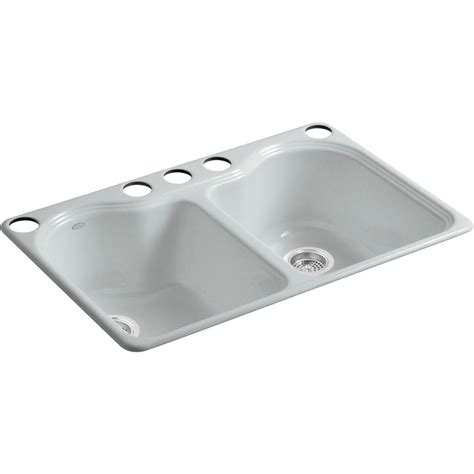 undermount kitchen sink with faucet holes kohler hartland undermount cast iron 33 in 5 hole double basin kitchen sink in ice grey k 5818