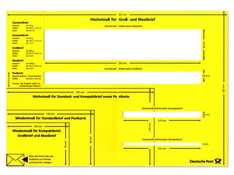 Porto Schweiz Brief Deutsche Post Formatschablone Brief Inland Shop Der Deutschen Post