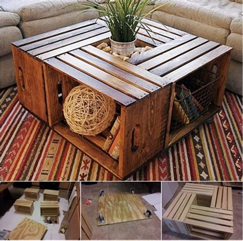 Diy Wooden Crate Coffee Table Diy Coffee Table From Recycled Wine Crates Beesdiy