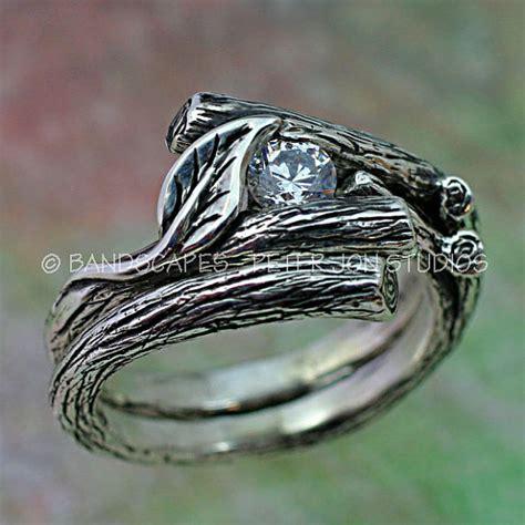 kijani single leaf engagement ring wedding band set in