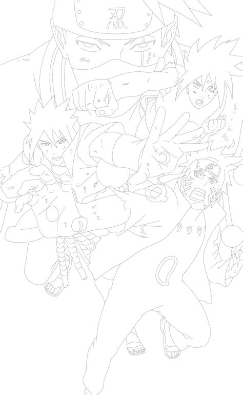 Team 7 Coloring Pages by Lineart Shippuden Team 7 Last Battle By
