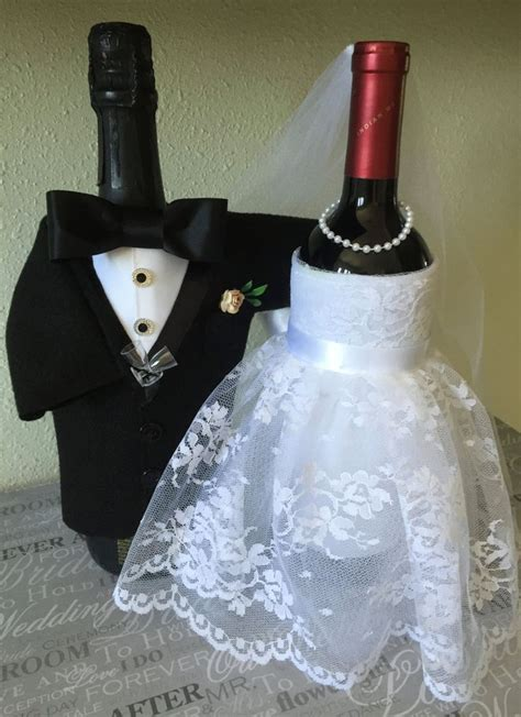 Bride and Groom bottle covers, Champagne, Wine, Wedding